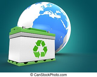 3d earth with car battery