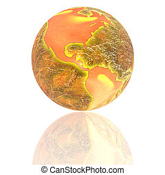 3d earth with color texture