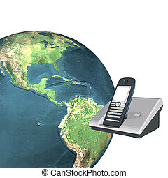 3d earth with phone isolated on a white
