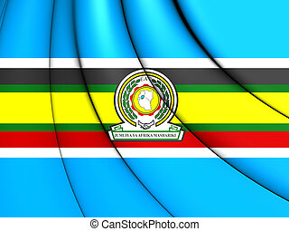 3D East African Community Flag. Close Up.