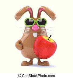 3d Easter bunny eats an apple