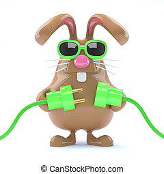 3d Easter bunny goes green