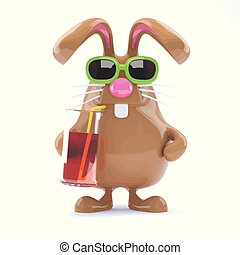 3d Easter bunny has a cool drink