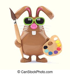 3d Easter bunny loves to paint