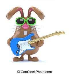 3d Easter bunny played guitar - 3d render of a chocolate...