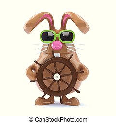 3d Easter bunny sailor