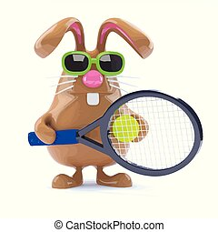 3d Easter bunny tennis star
