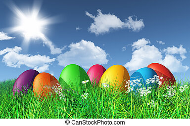 3D Easter eggs in grass
