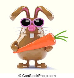 3d Easter rabbit with a carrot