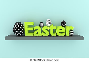 3d  Easter text with black and white eggs