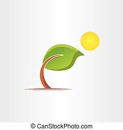 3d eco bended tree and sun icon