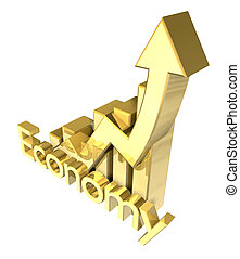 3d Economy - Statistics graphic in gold