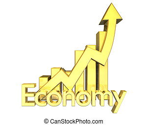 3d Economy - Statistics graphic in gold - 3d made Economy -...