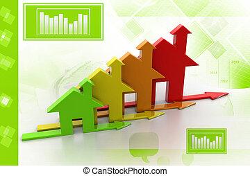 3d, efficacité, énergie, concept