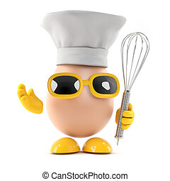 3d Egg and whisk - 3d render of a chef egg with a whisk