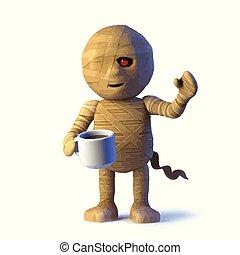 3d Egyptian mummy monster drinks a cup of tea