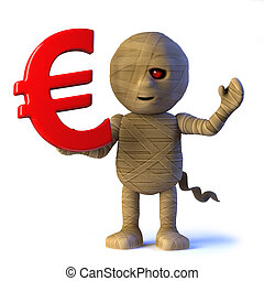 3d Egyptian mummy monster has Euro currency