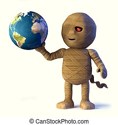 3d Egyptian mummy monster has globe of the Earth