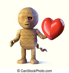 3d Egyptian mummy monster is in love