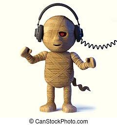 3d Egyptian mummy monster listens to headphones