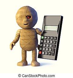 3d Egyptian mummy monster uses a calculator
