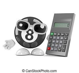 3d Eight ball uses a calculator