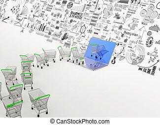 3d, einkaufende einkaufswagen, durch, laptop-computer, und, hand, gezeichnet, geschaeftswelt, diagramm, als, online, geschäftskonzept