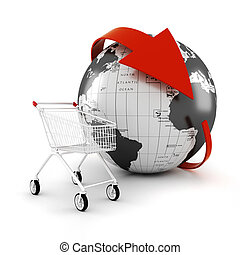 3d, einkaufswagen, on-line handel, begriff