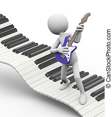 3d electric guitarist on keyboard