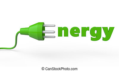 3d electric plug green energy conce