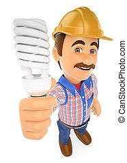 3D Electrician with a energy saving light bulb