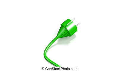 3D electricity plug on white background