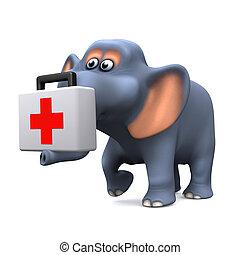 3d, elefant, rettung