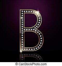 3d elegant diamond letter B