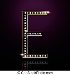 3d elegant diamond letter E