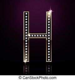 3d elegant diamond letter H