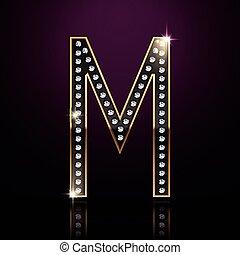 3d elegant diamond letter M