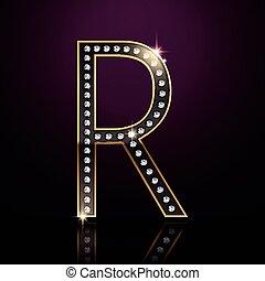 3d elegant diamond letter R