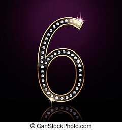 3d elegant diamond number 6