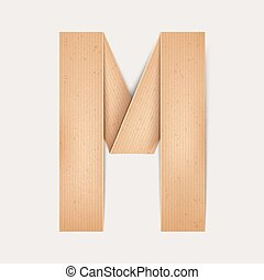 3d elegant folded paper letter M isolated on beige background
