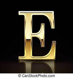 3d elegant golden letter E