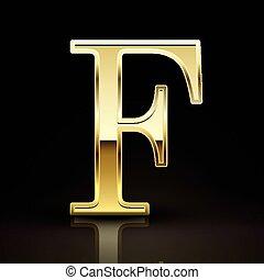 3d elegant golden letter F isolated on black background