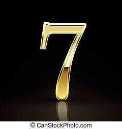 3d elegant golden number 7 isolated on black background