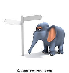 3d Elephant at the signpost