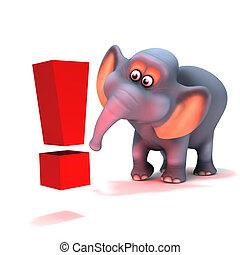 3d Elephant exclamation mark