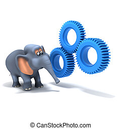 3d Elephant looking at gears