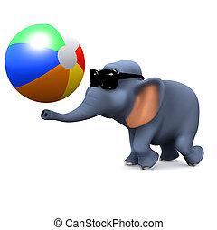 3d Elephant plays with a beach ball - 3d render of an...