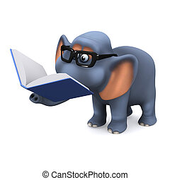 3d Elephant reading a book - 3d render of an elephant...