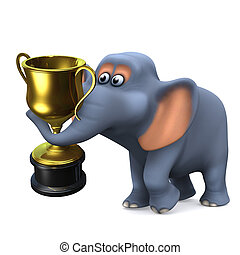 3d Elephant wins the gold trophy