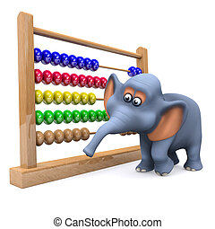 3d Elephant with abacus